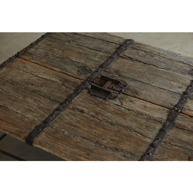Metal Low Antique Chinese Gate Doors Coffee Table on Custom-Made Welded Metal Base For Sale - Image 7 of 10