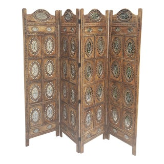 Asian-Indian Hand Carved Folding Screen For Sale