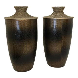 Contemporary Faux Croc Brown Urns - a Pair For Sale