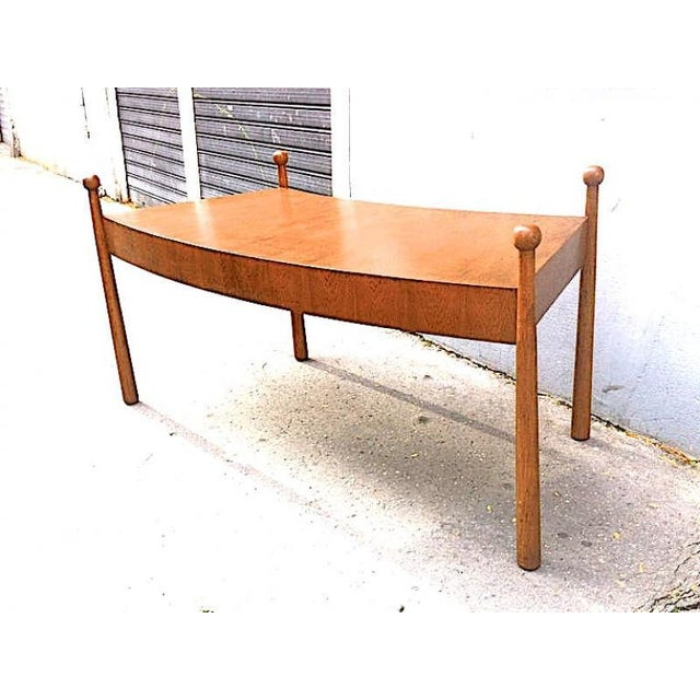 "Jean Royère Jean Royère Documented Rarest Oak Curved Desk, Model ""Quille"" For Sale - Image 4 of 6"