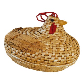 Vintage Rattan Sea Sea Grass Weave Chicken Rooster Basket For Sale