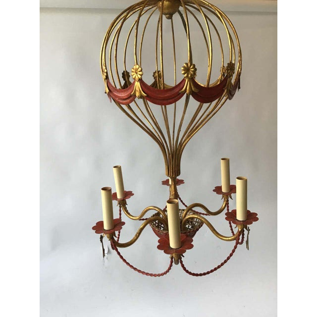 Metal 1970s Italian Gilt Iron Hot Air Balloon Chandelier For Sale - Image 7 of 11
