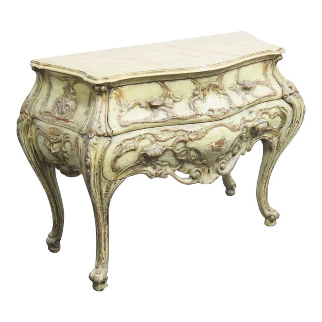 Italian Bombay Carved Paint Distressed Commode For Sale