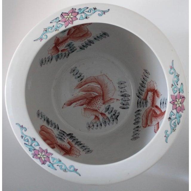 Large Antique Chinese Porcelain Lotus Flower Koi Fish Bowl Garden Planter For Sale - Image 6 of 10