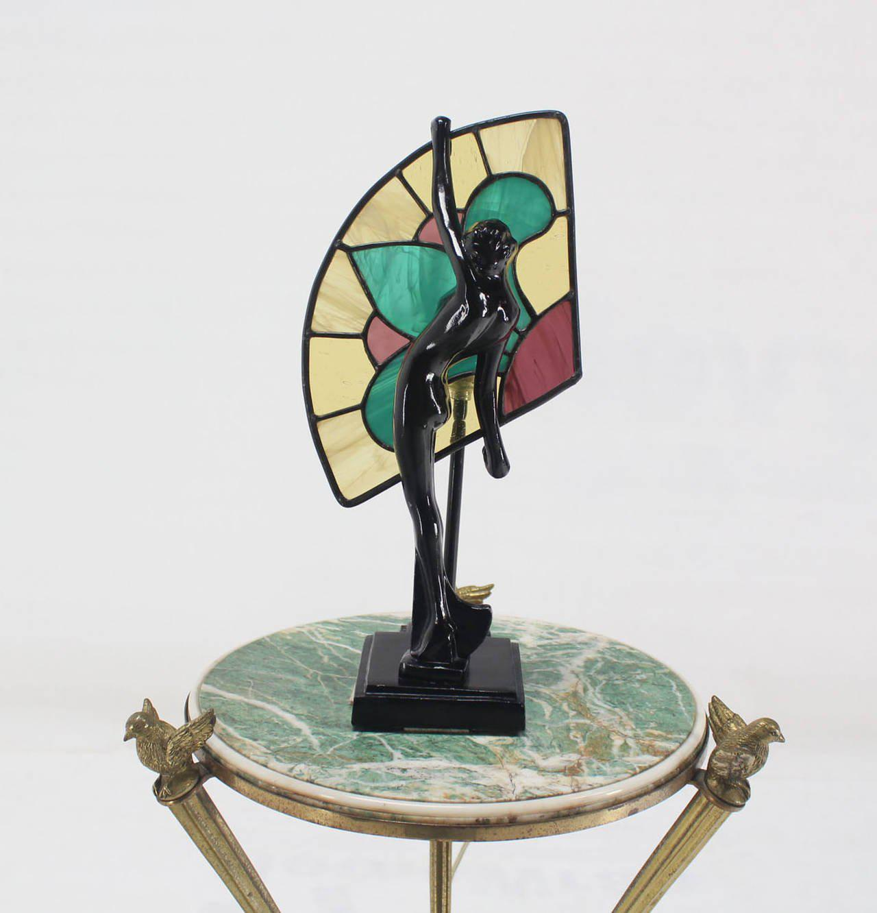 Art Deco Nouveau Style Nude Stained Glass Table Lamp   Image 2 Of 8