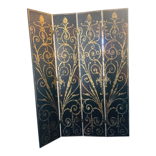 French Style 4 Panel Room Divider/Screen For Sale