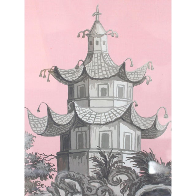 Chinoiserie Vintage Chinoiserie Pagoda & Botanic Scenes of East Asia Painting in Grisailles on Pink For Sale - Image 3 of 5