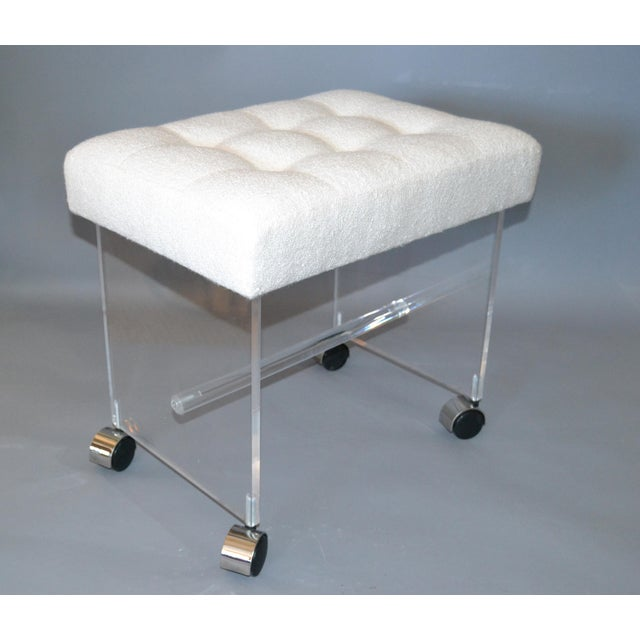 Mid-Century Modern Lucite Stool, Vanity Stool Tufted Boucle Fabric Seat Casters For Sale - Image 4 of 12
