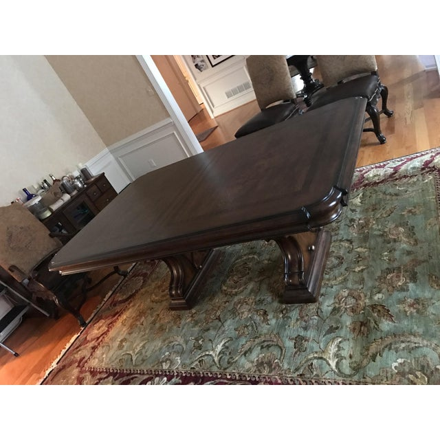 Brown Thomasville Bibbiano Trestle Dining Table and Upholstered Chairs For Sale - Image 8 of 8
