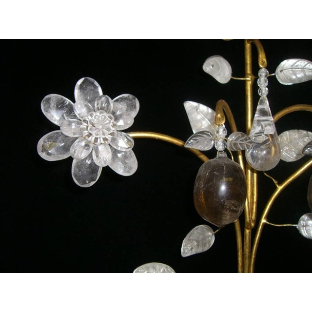 Early 21st Century Rock Crystal and 23K Gold Leaf Two-Light Sconces - a Pair For Sale - Image 5 of 11