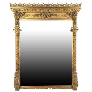 Grand Antique Neoclassical Over Mantel Gilt Mirror For Sale