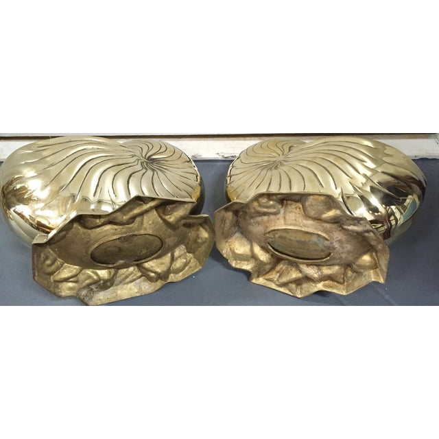 Vintage Brass Nautilus Shell Planters - A Pair - Image 7 of 8
