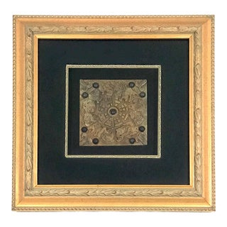 Framed Decorative Chinese Zodiac Stone Plaque in Gold Shadow Box With 'Black Pearls' For Sale