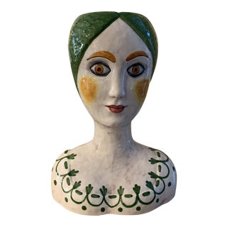 1960s Vintage Italian Ceramic Head Vase For Sale