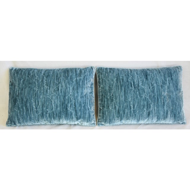 """Pair of custom-tailored reversible pillows created from Clarence House velvet fabric called """"Castellamonte Blue"""" in a..."""