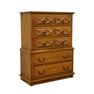Late 20th Century Vintage Young Hinkle Solid Oak Country Spanish Chest of Drawers For Sale