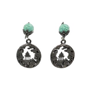 1950s Napier Faux-Jade Rhinestone Pagoda Cut Out Earrings For Sale