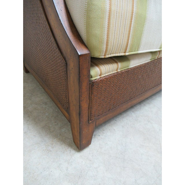 1990s Thomasville Tommy Bahama Style Wicker Lounge Chair For Sale - Image 5 of 13