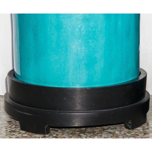 Ceramic Vintage Flambé Tall Glazed Turquoise Vases Urns - a Pair For Sale - Image 7 of 8