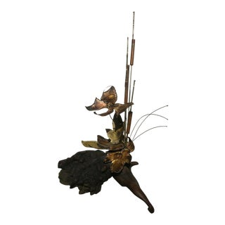 Mid Century Brutalist Sculpture Cattails Butterfly on Driftwood For Sale