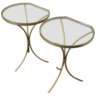 Pair of Italian Midcentury Glass and Brass Tripod Side, End or Nightstands For Sale