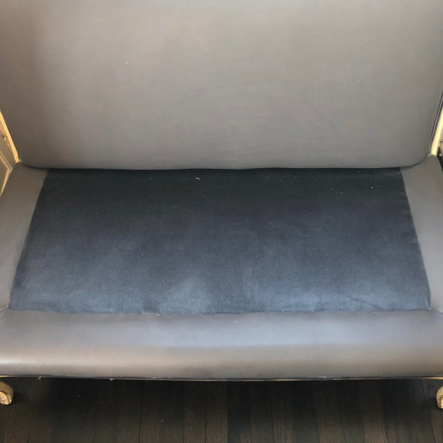 French Late 19th Century Antique French Elephant Grey Hide and Silk Velvet Settee For Sale - Image 3 of 9