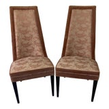 Image of 1970s Vintage Hollywood Regency High Back Slipper Chairs- A Pair For Sale