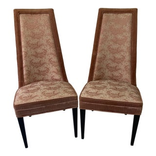 1970s Vintage Hollywood Regency High Back Slipper Chairs- A Pair For Sale