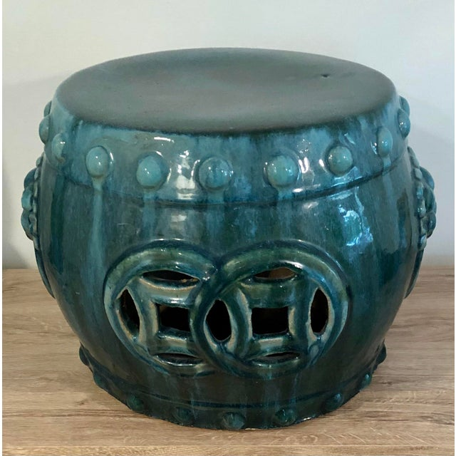Chinoiserie Late 20th Century Chinese Dark Turquoise Ceramic Drum Garden Stool For Sale - Image 3 of 8