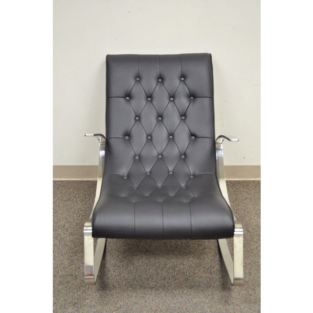 Contemporary Modern Chrome Steel Rocker Rocking Lounge Chair Mid Century Style - Image 4 of 10