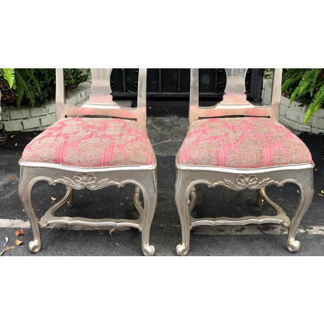Antique George III Silverleaf Side Chairs With Pink Seats - a Pair. These lovely chairs are genuine antiques and date to...