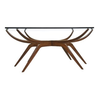 Italian Modern Mahogany and Glass Dining Table, attributed to Carlo de Carli For Sale