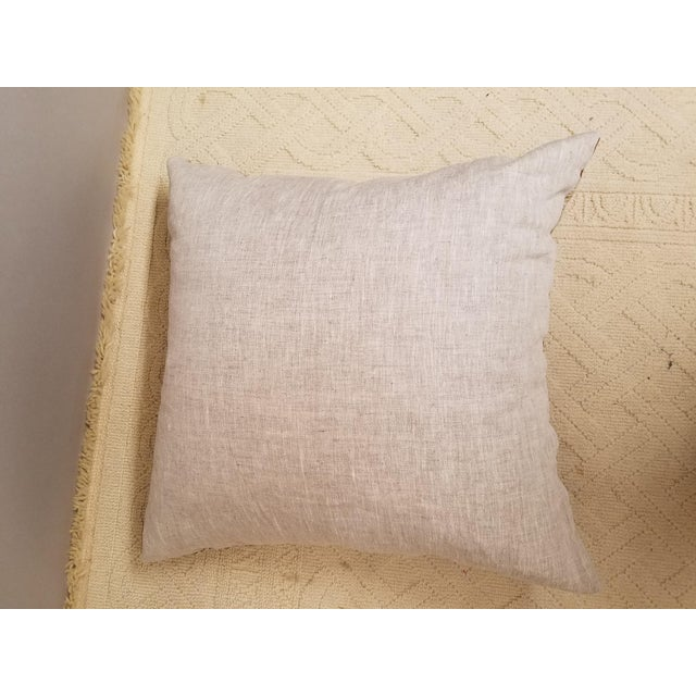 Anglo-Indian Custom Made Clarence House Cocoa Brown and Ivory Crewel Embroidered Linen Pillow Down Filled For Sale - Image 3 of 4
