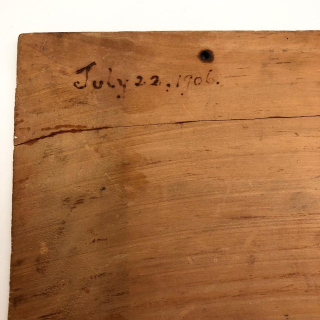 "Wood Antique ""May All Your Troubles End in Smoke"" Pyrograph Sign With Match Striker For Sale - Image 7 of 10"
