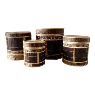 Vintage Boho Chic Round Palm & Bamboo Drum Boxes - Set of 4 For Sale