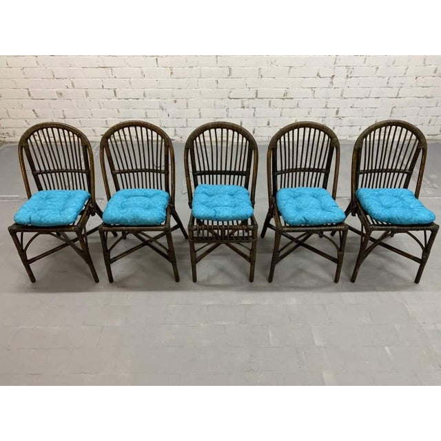 1970s Set of 5 Italian Vintage Bamboo Patio Dining Chairs For Sale - Image 5 of 11
