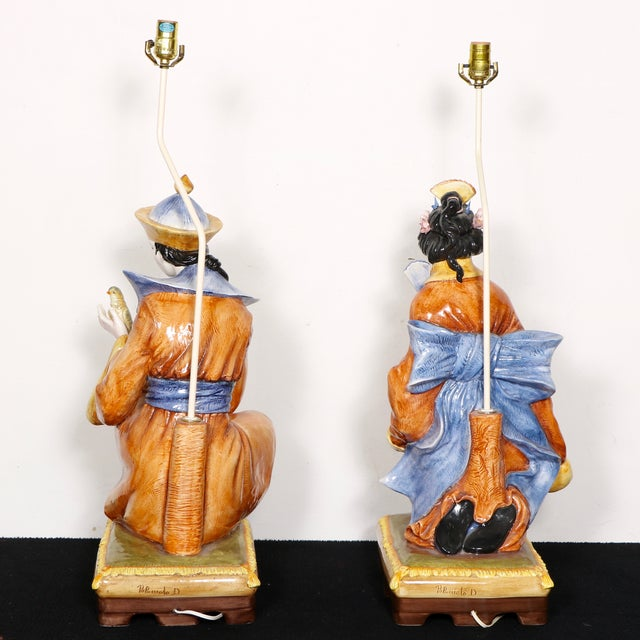 Capodimonte Chinese Table Lamps - Pair - Image 4 of 11