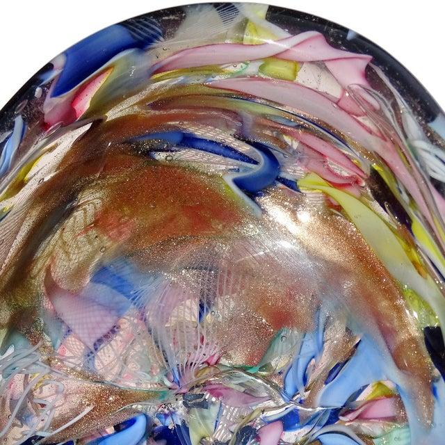 Murano Murano Vintage Latticino Zanfirico Ribbon Aventurine Flecks Italian Art Glass Mid Century Jewelry Dish For Sale - Image 4 of 8