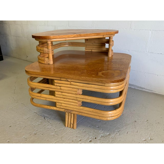 Mid-Century Modern Paul Frankl Style Stacked Rattan Corner Table For Sale - Image 3 of 5