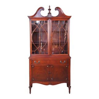 Antique Sheraton Style American Mahogany China Display Curio Cabinet Fretwork For Sale