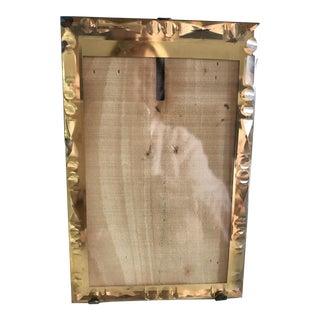 1930s Vintage Etched Glass, Foil, and Wood Picture Frame