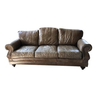 Ferguson Copeland Distressed Leather Sofa For Sale