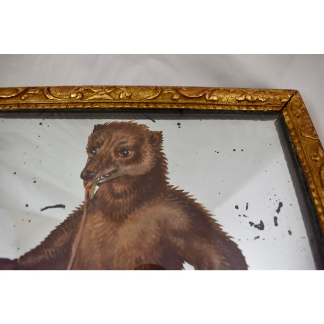 19th C. French Exotic Hand-Painted Decoupage Mirror, Animal Trainer & Bear For Sale In Philadelphia - Image 6 of 13