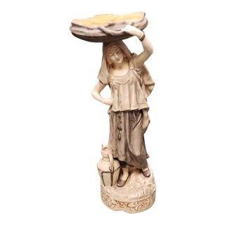 1885-1890 Austrian Art Nouveau Turn-Teplitz Amphora Porcelain Rebekah at the Well Sculpture For Sale