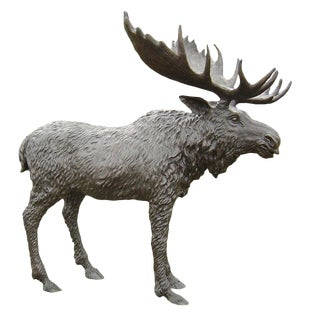 Bronze Moose With Large Antlers For Sale