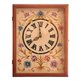 Jacobean Floral Crewel Embroidery Clock For Sale