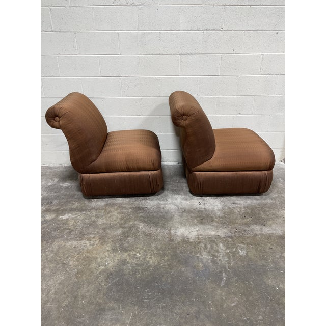 Copper Silk Shantung Rolled Back Slipper Chairs-A Pair For Sale - Image 4 of 12