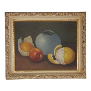 1960s Vintage Still Life with Fruit Oil Painting For Sale