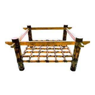 Boho Chic McGuire Square Shaped Glass Top Scorched Fer Forge Bamboo Coffee Table Preview