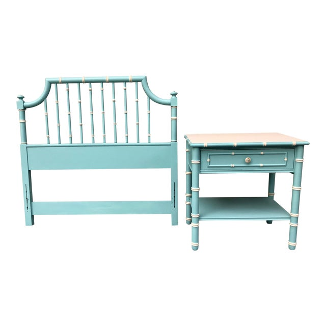 Hollywood Regency Faux Bamboo Twin Headboard and Nightstand Set - 2 Pieces For Sale